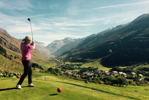 The 9-hole course at Andermatt Realps offers alpine golf at its most extreme