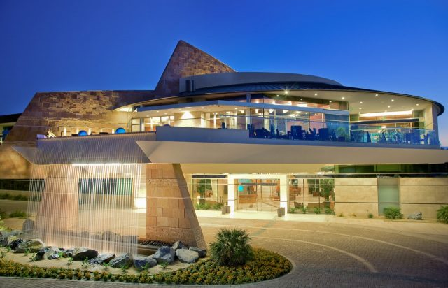 The spectacular clubhouse at Indian Wells Resort