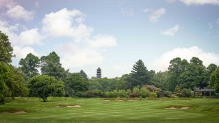 The 18th hole with Kew Garden's Pagoda in the background